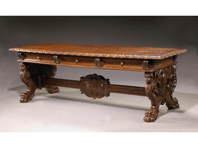 A fine Italian Renaissance style walnut library table