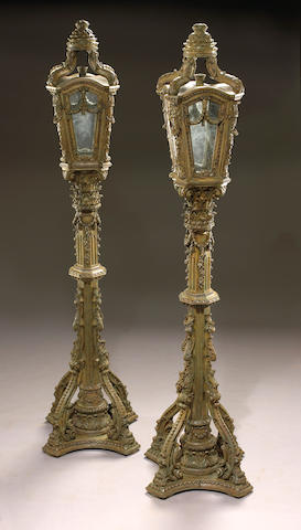A pair of Venetian Baroque style painted torchères