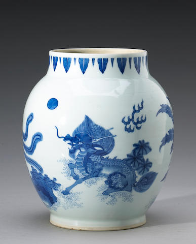A blue and white ovoid vase, Transitional Period