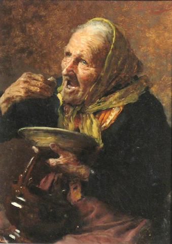 Giovanni Muzzioli (Italian 1854-1894) The meal 11 3/4 x 8 3/4in