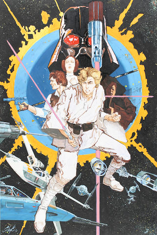 "A Howard Chaykin original artwork for the ""Star Wars"" poster"