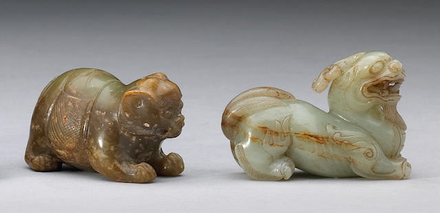 Two nephrite carvings of mythical animals 17th Century or Later