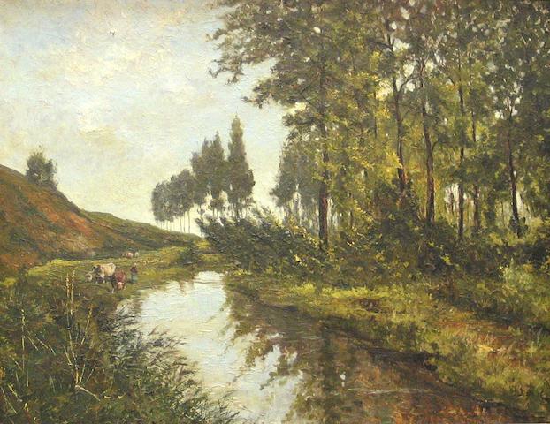 J. De Haen (Dutch 20th century) A river landscape with cattle watering 38 3/4 x 50in