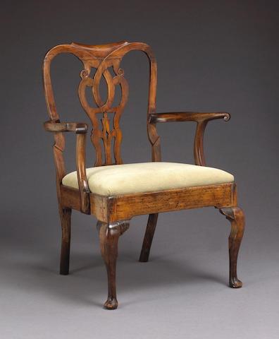 A George II walnut open armchair