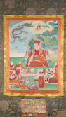 A Tibetan thangka depicting a lama and disciples, 19th century