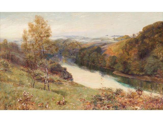 Stuart Lloyd (British d.1929) A river landscape  30 x 50 1/2in (76 x 128.3cm)
