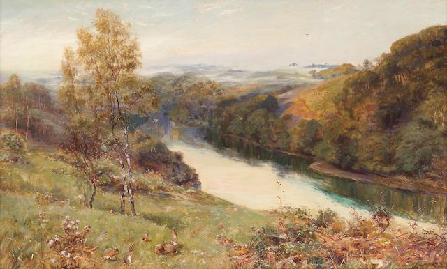 Stuart Lloyd (British d.1929) A river landscape 30 x 50 1/2in