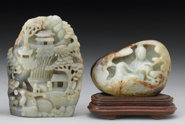Two carved nephrite boulders