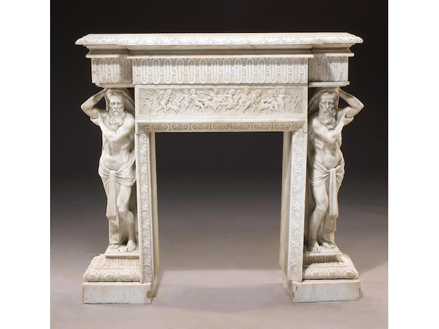 An Italian Neoclassical carved marble fire surround