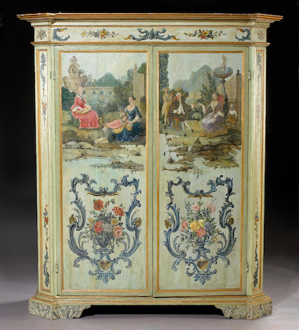 An Italian Baroque and later paint decorated wardrobe