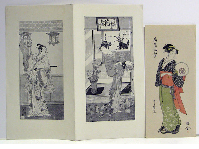 Various artists: three woodblock prints and two reproductions
