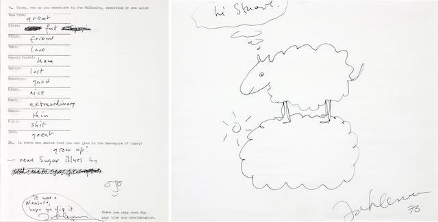 A 6pp John Lennon hand-written interview