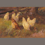 Paul Harney, (3) Chickens in a Barnyard 1906, Chickens in a Meadow 1909 and A View of a Farm 1907 (2