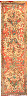 An Oushak runner West Anatolia, Size approximately 15ft 7in x 4ft 5in