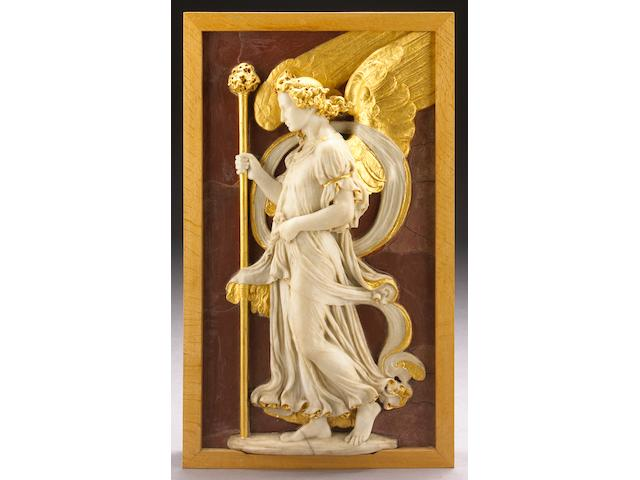 A carved white marble and parcel gilt relief panel of an angel with sponge and rod on a faux rosso antico ground