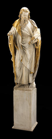 A carved white marble and parcel gilt figure of St. Paul