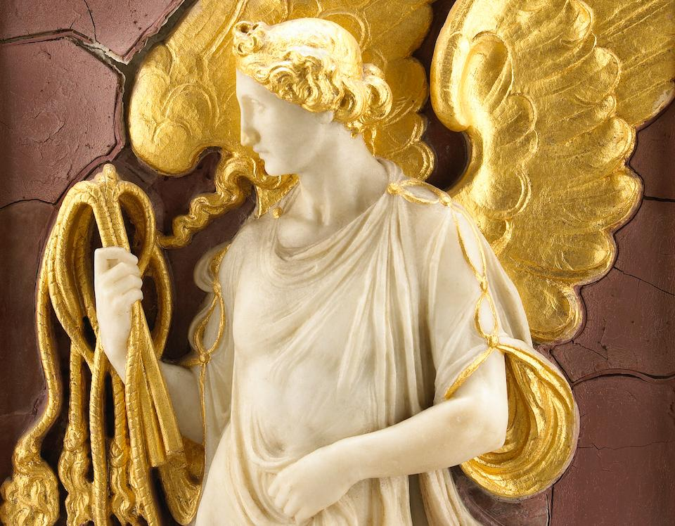 A carved white marble and parcel gilt relief panel of an angel with scourge on a faux rosso antico ground