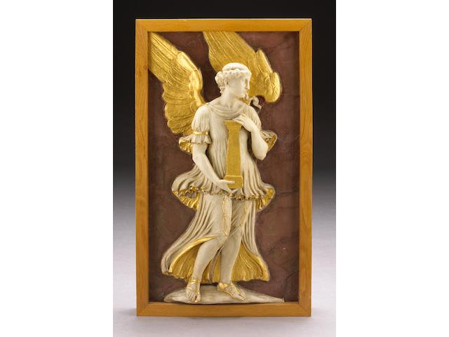A carved white marble and parcel gilt relief panel of an angel with column on a faux rosso antico ground