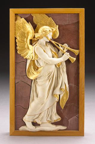 A carved white marble and parcel gilt relief panel of an angel with aulos on a faux rosso antico ground