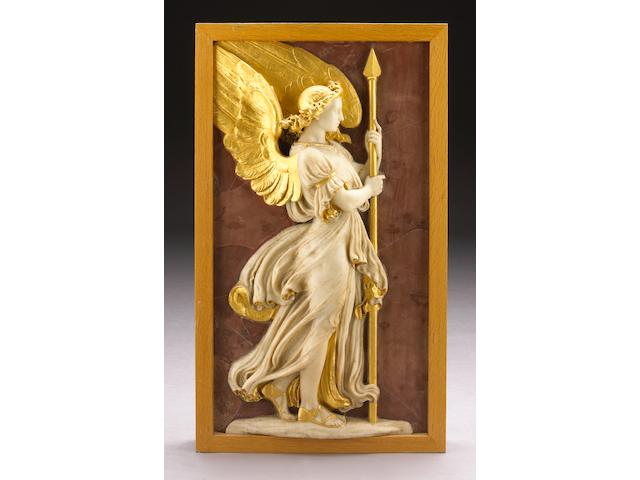 A carved white marble and parcel gilt relief panel of an angel with spear on a faux rosso antico ground