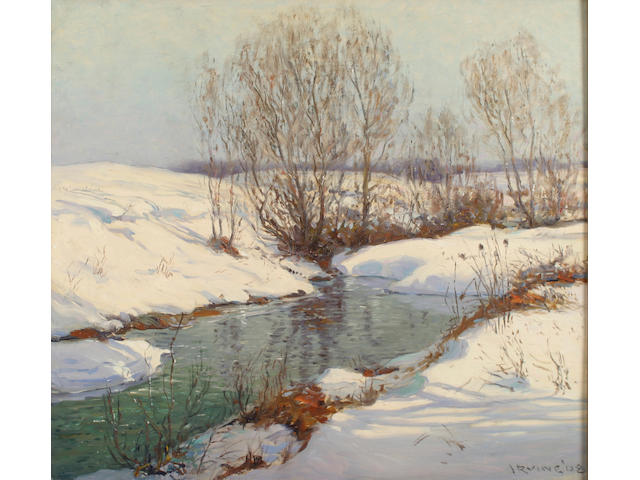 Wilson Henry Irvine (1869-1936) A stream in winter with snow-covered banks, 1908 24 x 27in (61.0 x 68.5cm)