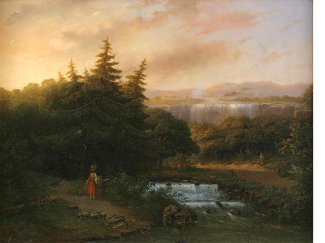 Marinus Harting (1815?-1861) Landscape with falls 22 1/4 x 28 3/4in (56.5 x 73cm)