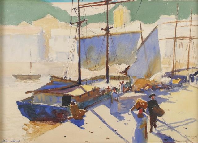 John Whorf (1903-1959) A Brittany port boats and figures 15 x 21 1/2in (38 x 54.4cm)