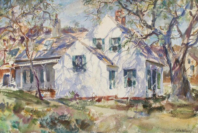 John Whorf (1903-1959) Summer shadows on a white house and Nude in her bedroom: a double sided work 15 x 22 1/2in (38 x 57cm)