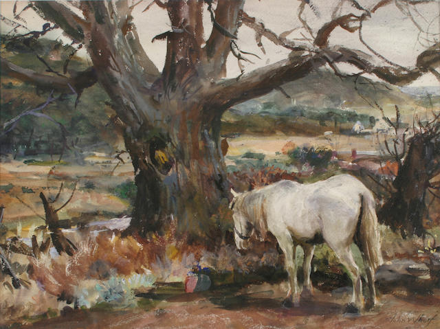 John Whorf (1903-1959) Out to pasture a white horse and Seascape: a double sided work 15 x 19 3/4in (38.1 x 50.3cm)