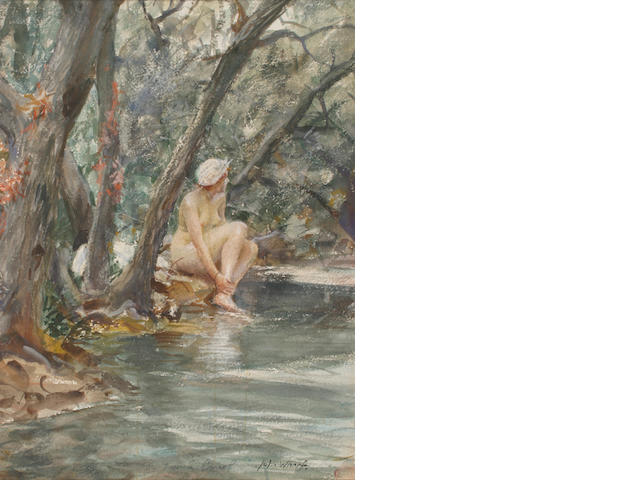 John Whorf (1903-1959) Nude bather 18 1/2 x 13 1/4in (47 x 33.5cm)