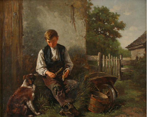 Hugh Newell (1830-1915) Boy and his dog 16 x 20in (40.6 x 50.8cm)