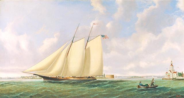 Joseph Smith (1798-1876) Off Governer's island (ship under sail in New York harbor) 21 x 38in (53.4 x 96.5cm)