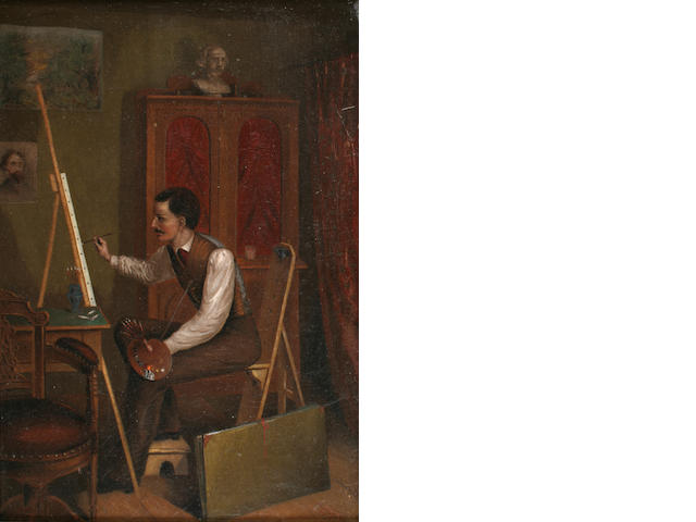 J. Dickson (19th Century) Artist in his studio 14 x 9 1/2in (35.5 x 24cm)