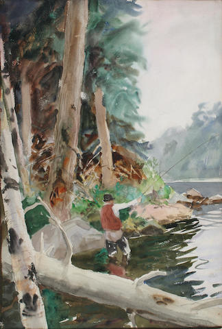 John Whorf (1903-1959) Fisherman casting 22 x 15in (55.8 x 38cm)