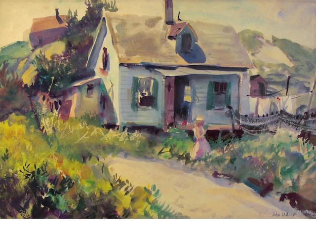 John Whorf (1903-1959) Fisherman's shacks 15 1/4 x 21 3/4in (38.5 x 55.2cm)