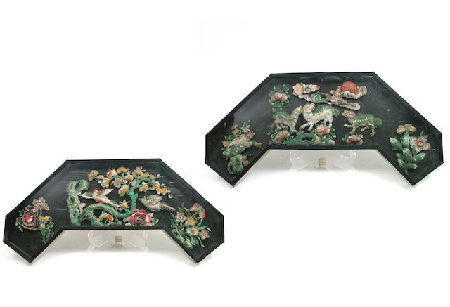 A set of three Chinese framed dioramas