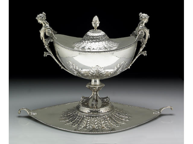 Large Silver Tureen with Integral Stand and Cover After the Antique