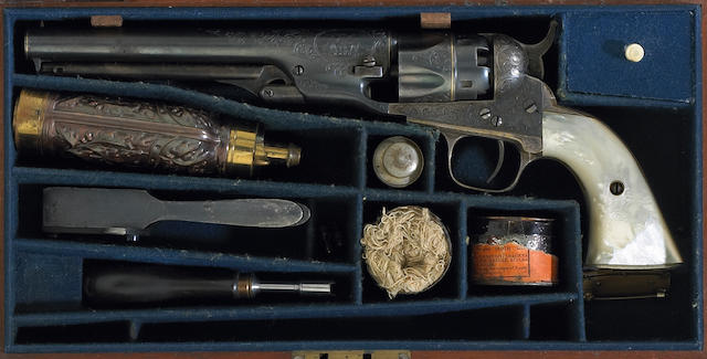An historic cased, factory engraved and gold banded Metropolitan revolver belonging to Civil War Navy Commander George Beall Balch