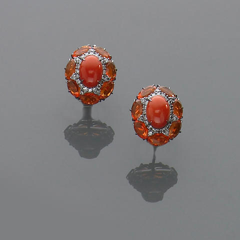 Pair of Coral and Fire Opal Earclips