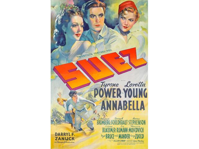 Suez, 1938, 27 x 41, framed