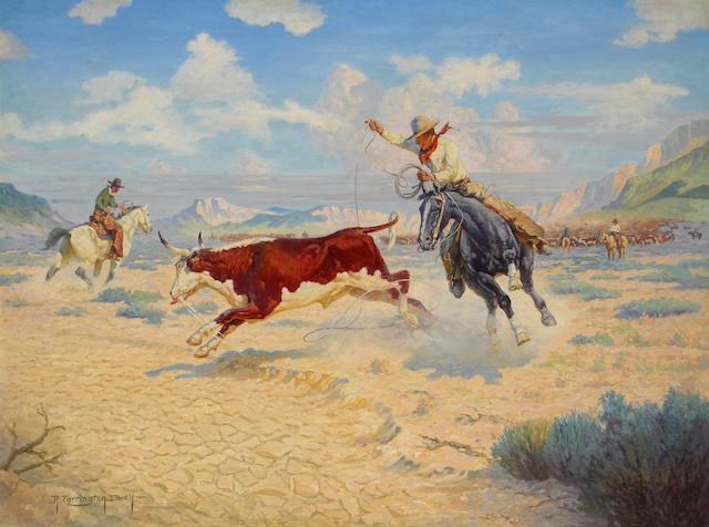 Robert Farrington Elwell (1874-1962) Round-Up 27 x 36in