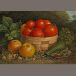 American School (19th century) Still Life with Vegetables and Fruit 8 1/2 x 12in