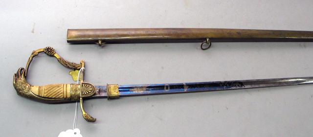 An American eagle pommel officer's sword