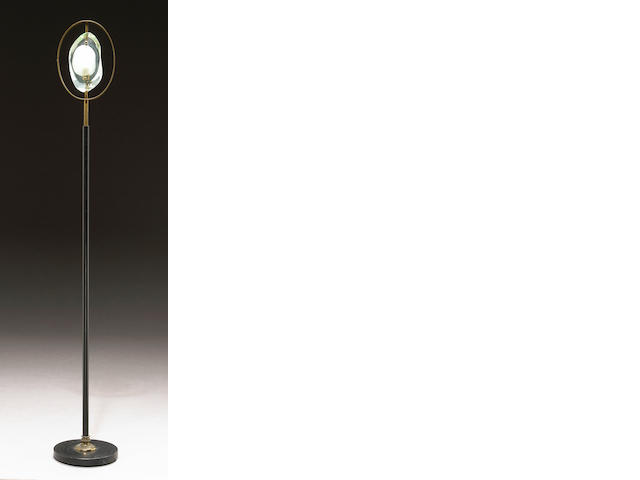 A Max Ingrand glass and brass floor lamp