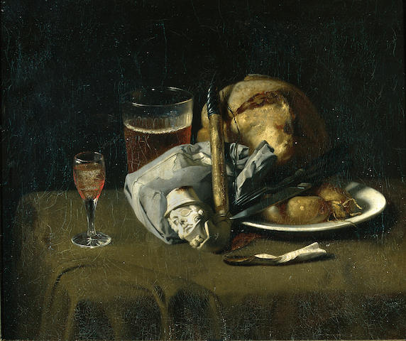 American School (19th century) A still life with bread, sausages, drinks and a Meerschaum pipe 19 x 22in