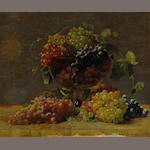 William Joseph McCloskey (1859-1941)  A Variety of California Grapes in a Glass Vase 21 x 24in