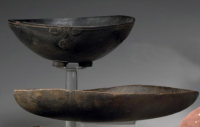 Two Oceanic items: Fiji bowl, Admiralty Islands bowl