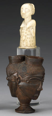 Two Luba items: Janus-faced ceremonial cup, ivory handle