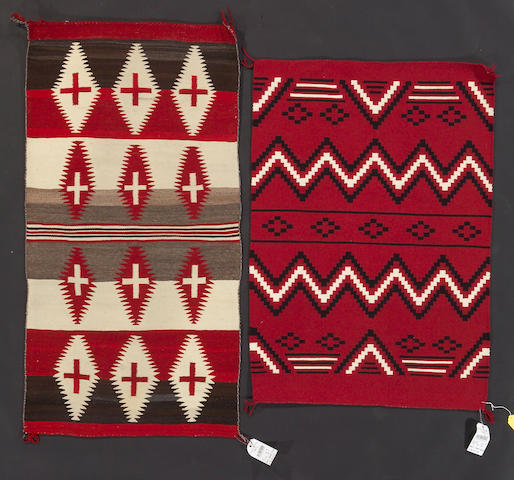 Two Navajo rugs, 5ft x 2ft 7in, 4ft 2in x 2ft 11in