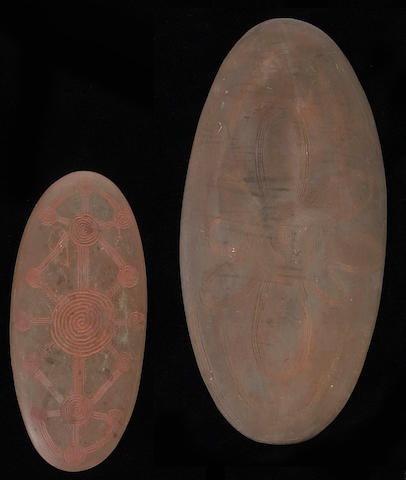 Two Australian Aborigine stone churingas